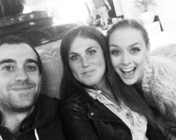 Rachel Skarsten Vanessa Piazza and Michael Grassi on set